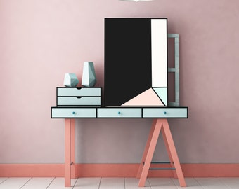 Abstract Minimal Digital Painting Geometric Room 1 by Jules Tillman - Fine Art Lustre Print Modern Wall art. Minimal Art