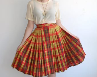 Vintage 50's Plaid Full Pleated Skirt/ Red Yellow Woven 1950s Skirt with Thick Waist Band/Small