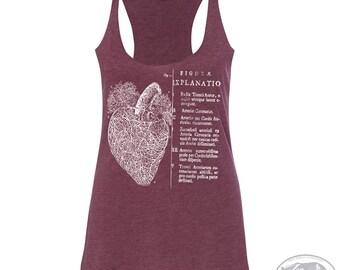 Women's Anatomical HEART -hand screen printed Tri-Blend Racerback Tank Top xs s m l xl xxl  (+Colors)