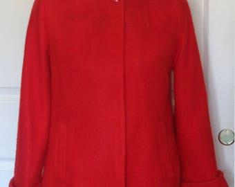 Vintage 50s Lipstick Red Fleecy Wool Swing Jacket Rhinestones B38 Size 12