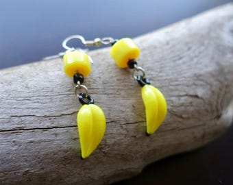 Banana Glass Bead Earrings |  Yellow Fruit Dangle with Silver Accents | Fruit