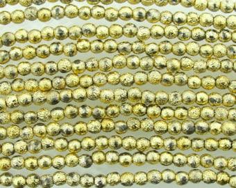 4mm Metallic Gold Etched Czech Glass Round Beads - Qty 50 (BW156)