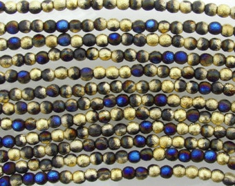 4mm 2 Tone Matte Metallic California Blue Gold Etched Czech Glass Round Beads - Qty 50 (BW160)