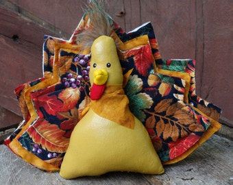 Turkey stuffed soft sculpture doll ornie Thanksgiving