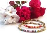 Vulcanite & bone bracelets, tribal African bead bracelet, boho vinyl record disc bracelets, ethnic elastic armbands, colorful hippie jewelry