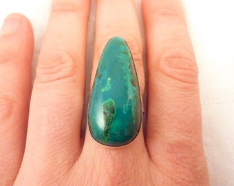 Large Chrysocolla Sterling Silver Vintage Ring Size 8