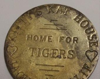 Vintage Brothel Token Kitty Kat House, 3 Dollar all Night Check Jackson California #B299
