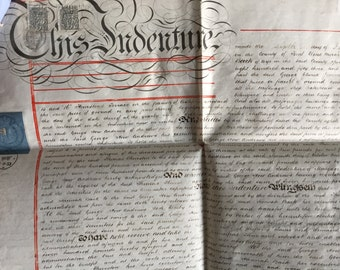 Antique British Handwritten Manuscript on Vellum - No. 7 - Genuine 1881 Indenture