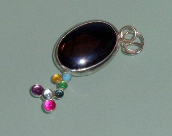 Unique Hematite Cabochon PendantMulti Gemstones Colorful Sterling Silver Bezels Handmade