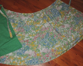 1970s Fabulous Reversible Wrap Skirt Floral to Spring Green  size S to M