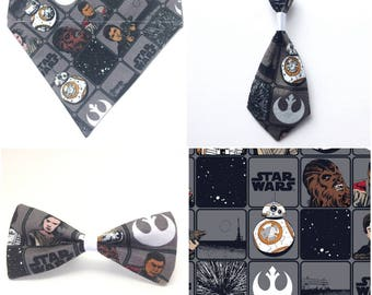 Pet Accessory - Star Wars Character Tiles Gray - Over the Collar - Customs - Bandana, Bow Tie, Neck Tie, Flower