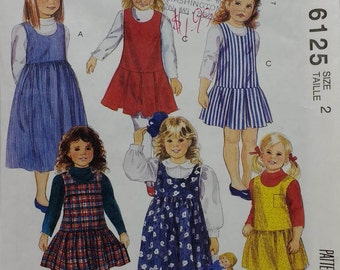 Easy Mccalls 6125 Childrens Jumper Pattern  Girls Pullover Jumper in two lengths Children Size 2 Easy Jumper Pattern