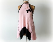 100% Cashmere Sweater Pink High Neck Tank Evening Wear Womens Holiday Top Upcycled Recycled Boho Tunic Art To Wear Fancy Blouse M L 'CALIOPE