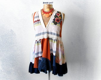 Country Babydoll Loose Fitting Top Shabby Chic Clothing Boho Style Shirt Retro Hippie Clothes Women Upcycle Tunic Orange Swing Top L 'TRISTA