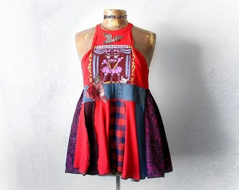 High Neck Tank Up Cycled Shirt Red Babydoll Fit Flare Top Eco Friendly Clothing Boho Swing Shirt Circus Sideshow Recycled T-Shirt M 'EVELYN'