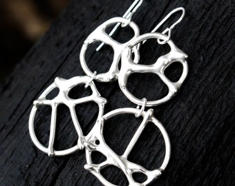 Dreamcatcher Silver Earrings, Sterling Silver Earrings, Modern Organic Silver Dangle Earrings, Recycled Silver, Elementisle, Boho Chic