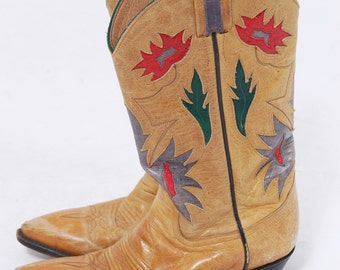 Vintage COWBOY Boots Leather Inlay Western Boots LARRY MAHAN Mustard Leather Cowgirl Boots Size 6