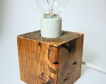 Squat Wood Block Lamp