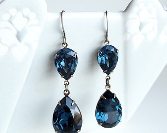 Swarovski Montana Blue Rhinestone Earrings Teardrop Pear Old Hollywood Bridal Bridesmaids
