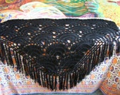 Crochet Shawl, Black shawl, Fringe Wrap, Festival shawl, Winter wrap, 70s Crochet shawl