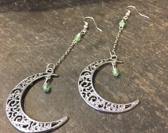 Crescent Moon Earrings for New Age Present, Silver Dangle Peridot Crystal Earrings, Hippie Boho Jewelry for Bohemian, Mystical Earrings