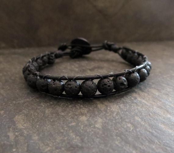 Black Beaded Bracelet Black Diffuser Jewelry Leather Wrap Bracelet Unisex Aromatherapy Lava Stone Men's Bracelet Edgy Jewelry Biker Rocker