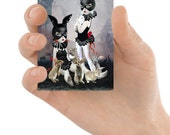 Rabbit Girls ACEO Card - Miniature Art - Rabbits ACEO Card -Girls & Rabbits - Lowbrow ACEO Card - Lowbrow Art - Rabbit Rendezvous
