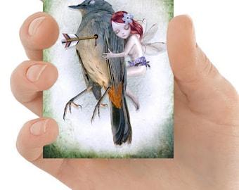 ACEO Card - Melancholy Art - Fairy & Bird - Miniature Art - Fairy ACEO Print - Last Breath