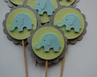 Blue, Lime and Silver Elephant Cupcake Toppers--Set of 6--Baby Shower-First Birthday-Elephant Party-Kid Party-BoyElephant Pick-Ready to Ship