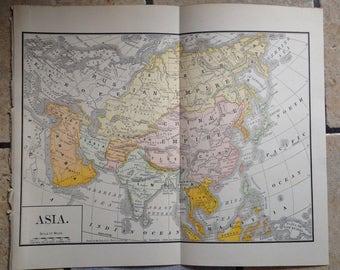 1890 Political Map of Asia Antique Illustration