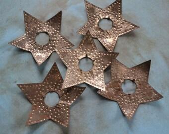 5 Vintage Diamond Ray Metal Star Light Reflectors