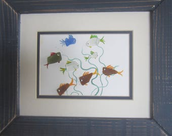 Sea Glass, Beach Glass , Hand Painted Larger  Swimming Fish Picture