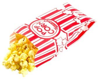 "25 Paper Popcorn Bags, Gusseted Popcorn Bags, Retro Popcorn Bags . 3 1/2"" x 2 1/4"" x 8 1/4"" 1 oz."