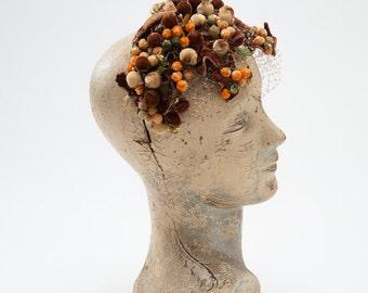 Vintage 1950s Berry Hat, Autumn Fascinator Mocha Orange Velvet Berries Leaves, Accessories, Hats & Caps, Fascinators