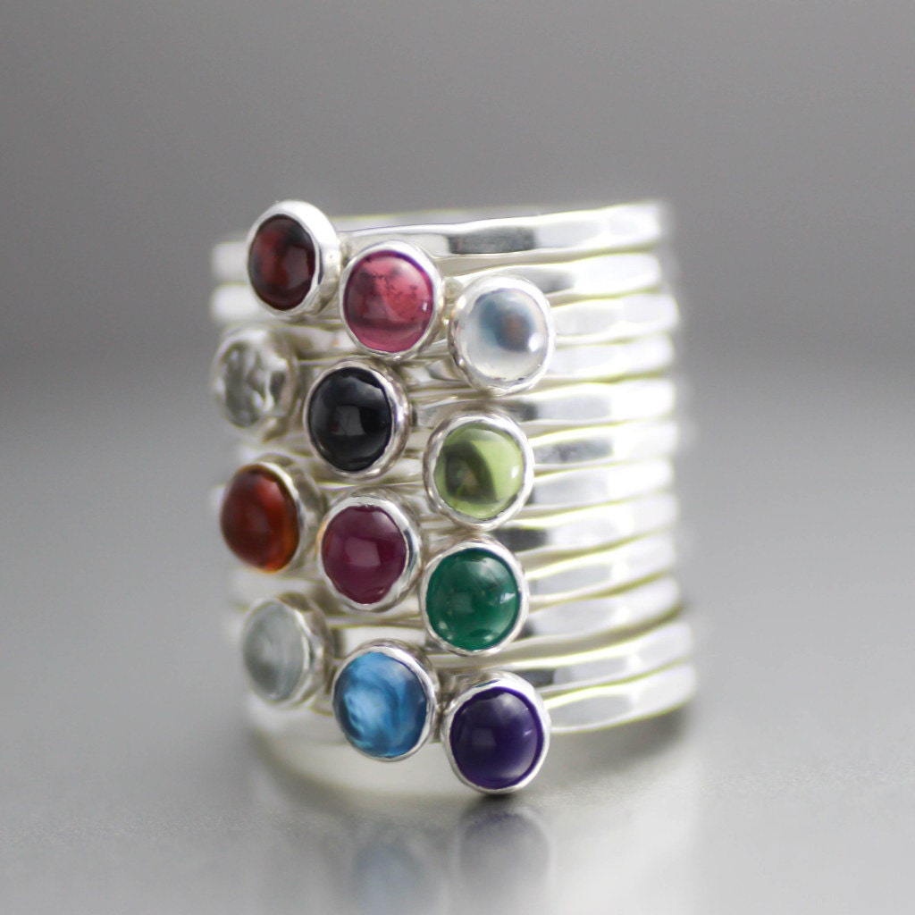 mothers ring birthstone ring gemstone stack ring moms ring. Black Bedroom Furniture Sets. Home Design Ideas