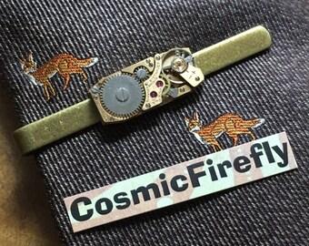 Men's Tie Clip Men's Steampunk Tie Clip Vintage Watch Movement Rectangular Movement Antiqued Brass Tie Clip Men's Gifts For Him