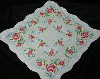 "Vintage 40's 11"" Scalloped Pink Roses Floral Wedding Favor, Banner, Pocket Square Handkerchief - 9844"