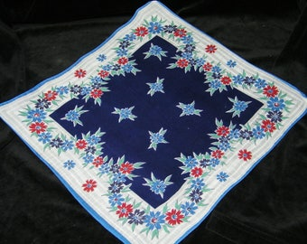 "Vintage 50's 13"" Blue & Red Floral Wedding Favor, Banner, Pocket Square Handkerchief - 9845"