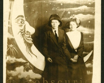Paper Moon - Young Women with Man in the Moon - Lewiston Pennant - Vintage 1910s RPPC