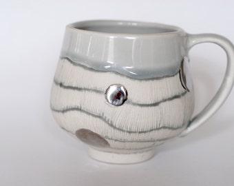 Gray line Mug with Platinum Dots