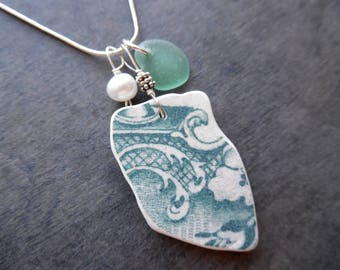 Teal Sea Glass Necklace Pottery Beach Shard Jewelry English Sterling  Floral