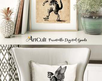 2 Digital Sheets WINGED CAT Printable Images to print on fabric / paper, Iron On Transfer for tote bag,s t-shirts, pillows, posters ArtCult