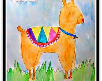 Happy Llama Folk Art Happy Art Kids Art 9x12 Watercolor on Watercolor Paper Original whimsical Art