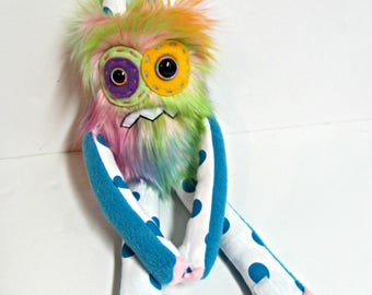 Worry Monster Plush - Handmade Nervous Monster - Rainbow Faux Fur Monster - OOAK Grumpy Monster - Hand Embroidered - Weird Cute Plush Toy