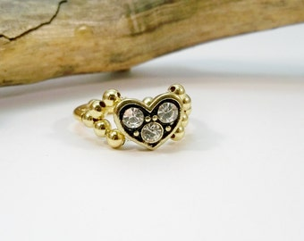 Rhinestone and Gold Heart Ring, Gold Cocktail Ring, Elastic Band Ring, Stretchy Ring, Gift for Her, Stocking Stuffer