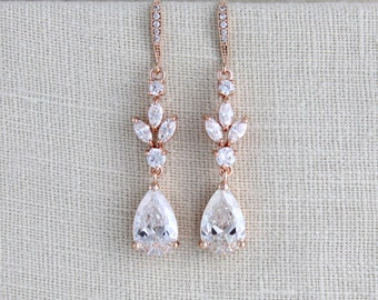 Crystal Bridal earrings, Rose gold earrings, Wedding jewelry, Bridesmaid earrings, Swarovski crystal, Bridal jewelry, Long dangle earrings