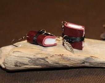Mini leather books earrings