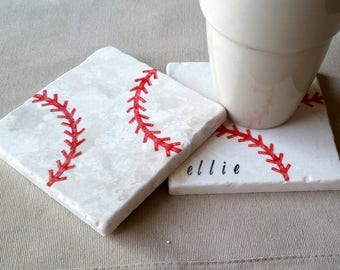Baseball Coasters - Personalized Father's Day Gift - Baseball Lover - Sports Home Decor - Man Cave Tile Drink Holders - Groomsmen Gift