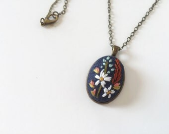 Wildflower Pendant in Navy Blue | hand embroidered necklace, jewelry keepsake, floral, bouquet, romantic, embroidered jewelry