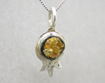 Raw diamond necklace pendant, Pomegranate shaped pendant, 24K Yellow gold in oxidized silver, Silver chain included